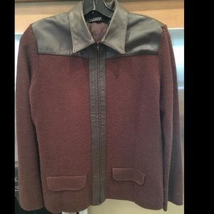 Sweater jacket with leather trim